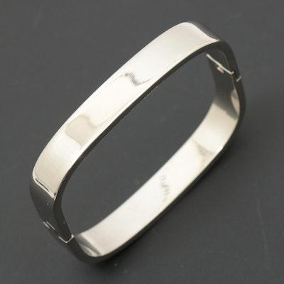 Sterling Silver Hinged Square Bangle Bracelet