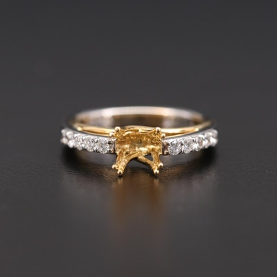 18K White and Yellow Gold Diamond Semi-Mount Ring with Euro Shank