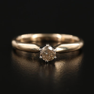 14K Yellow Gold 0.18 CT Diamond Solitaire Ring