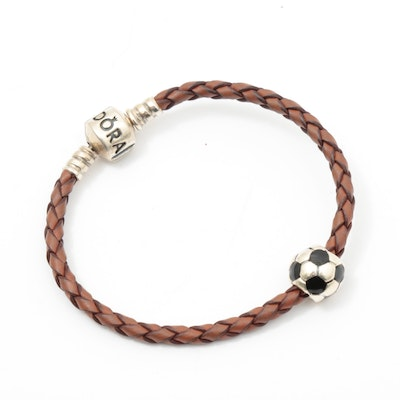 Pandora Sterling Silver and Leather Bracelet with Soccer Ball Charm