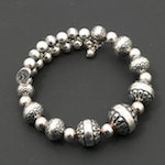Relios by Carolyn Pollack Sterling Silver Memory Wire Beaded Bracelet