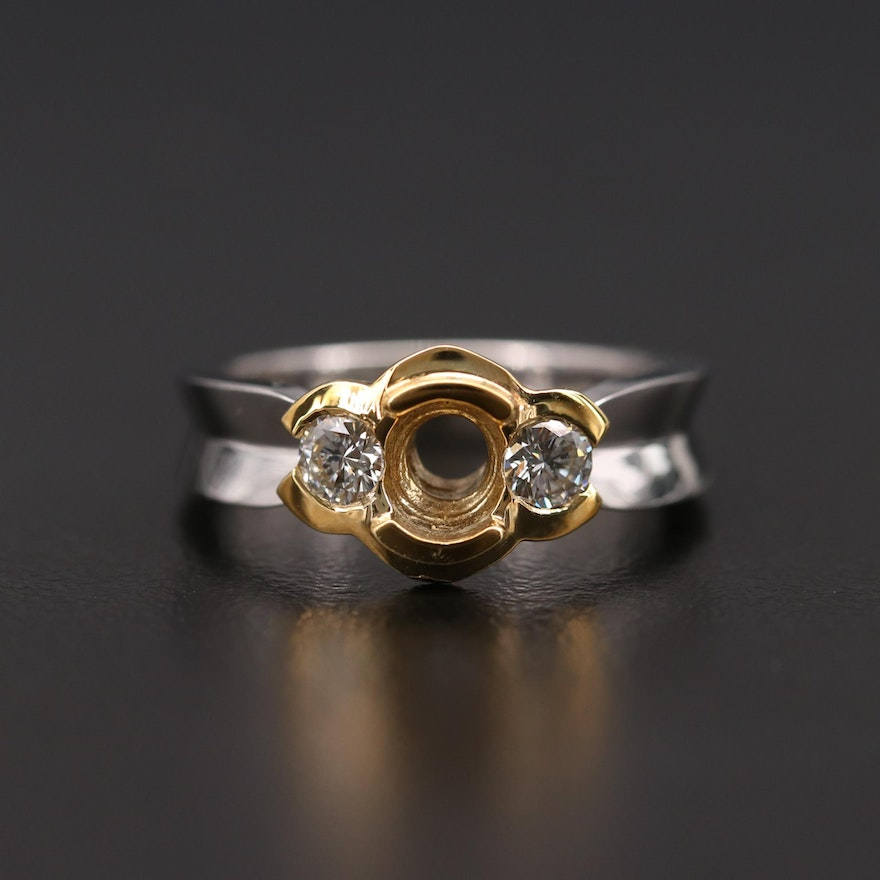 Platinum Diamond Semi-Mount Ring with 18K Yellow Gold Accent