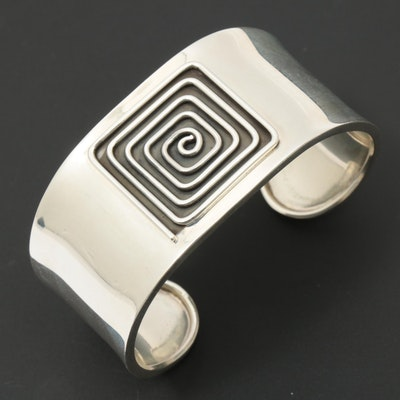 Mexican Dominique Dinouart Sterling Silver Cuff Bracelet