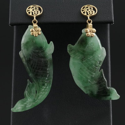"""14K Yellow Gold Carved Jadeite Fish """"Good Fortune"""" Earrings"""