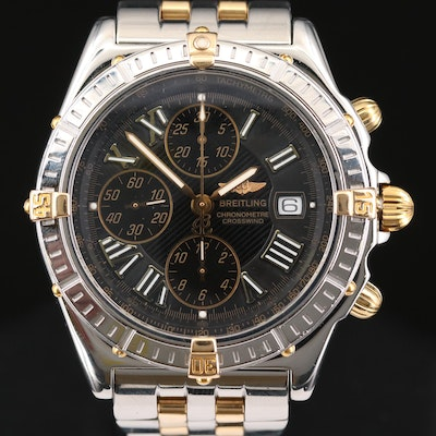 Breitling Crosswind 18K Gold and Stainless Steel Chronograph Wristwatch