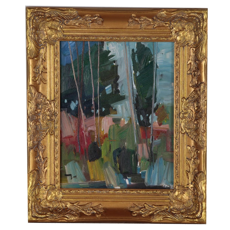 """Jose Trujillo Oil Painting """"The Woods"""" in 20th C. French Style Gold Tone Frame"""