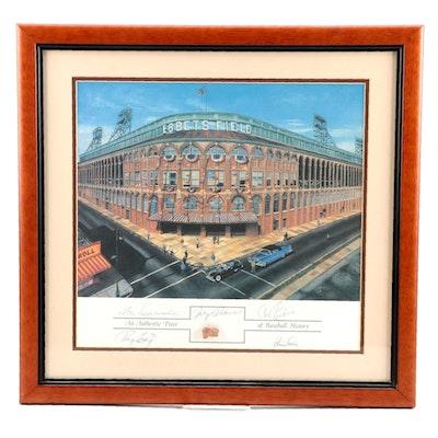 Brooklyn Signed Baseball Display with Ebbets Field Brick Piece From Rotunda, COA