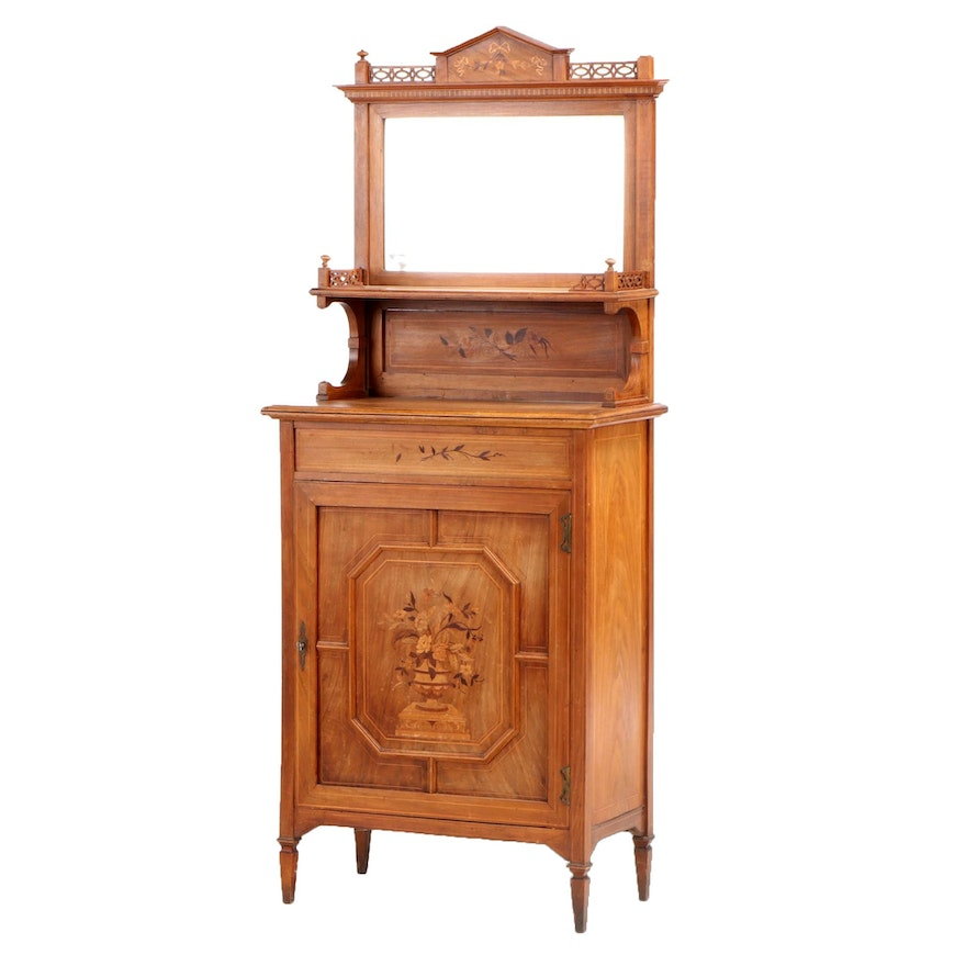 French Walnut and Marquetry Mirror-Backed Side Cabinet