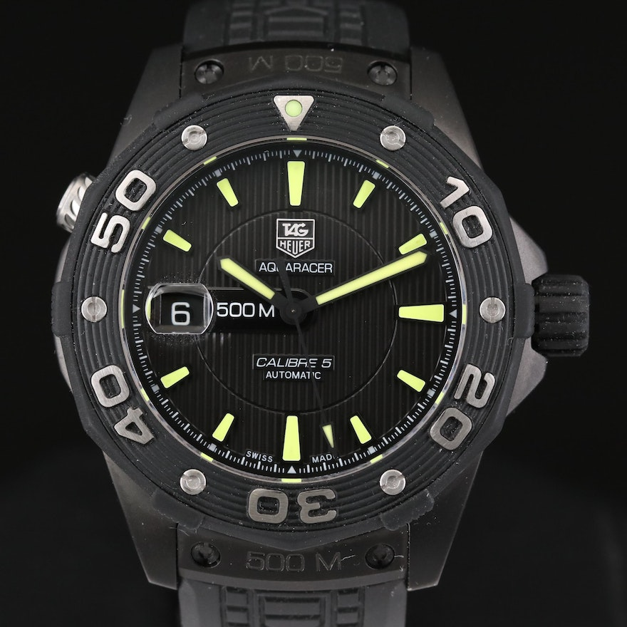 TAG Heuer Aquaracer 500 M Stainless Steel and PVD Coating Automatic Wristwatch