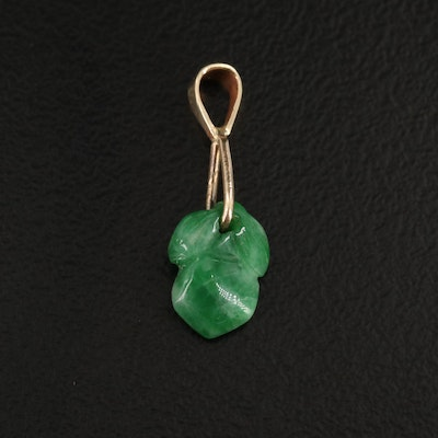 Carved Jadeite Pendant with 14K Yellow Gold Bail