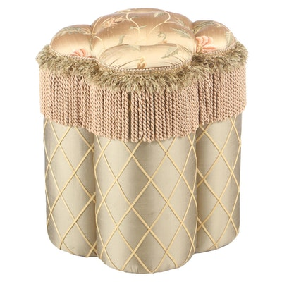 Custom-Upholstered and Button-Tufted Boudoir Stool