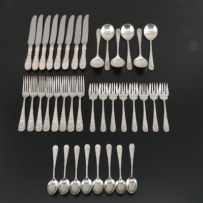 "Stieff ""Repoussé"" Sterling Silver Flatware Four Piece Setting for Eight and More"