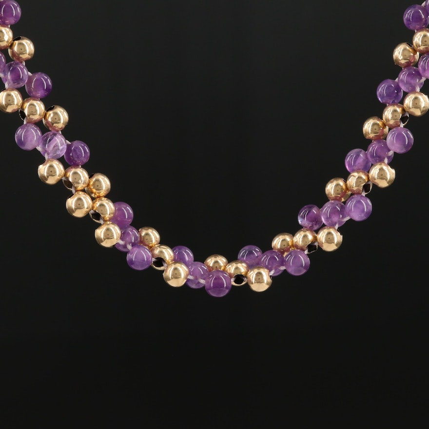 14K Yellow Gold Woven Amethyst Beaded Necklace