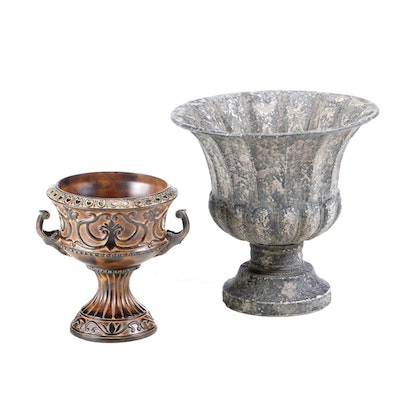 Distressed Tin and Cast Metal Planters, Late 20th Century