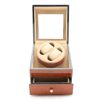 Dual Watch Winder  with Burl Wood Finish Case, Contemporary