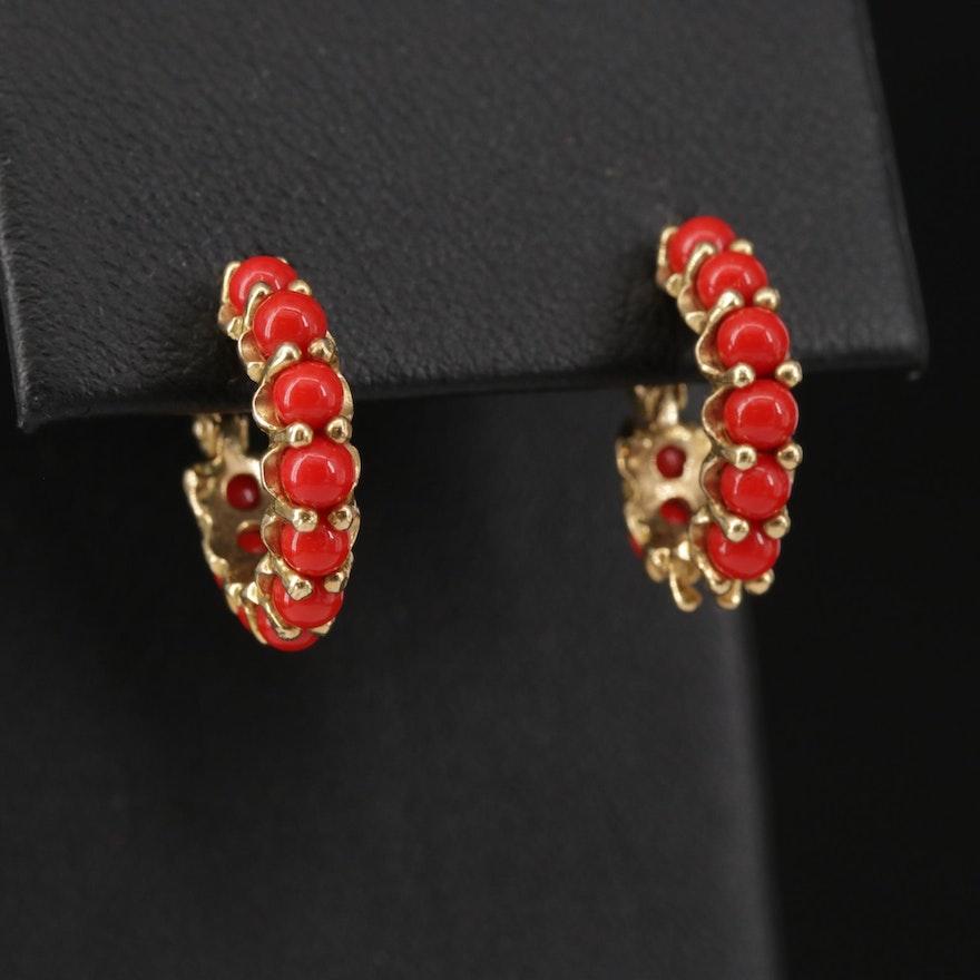 18K Yellow Gold, Coral Huggie Earrings