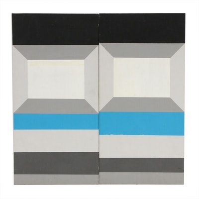 Geometric Abstract Acrylic Paintings Attributed to John Voelker, 20th Century