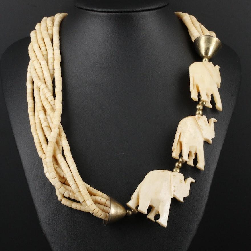Bone Carved Elephant Bead Necklace Ebth
