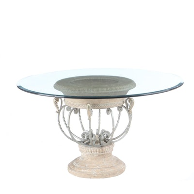 Neoclassical Style Glass Top Dining Table