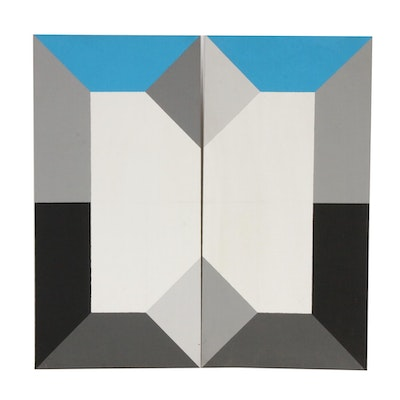 Geometric Abstract Acrylic Paintings Attributed to John Voelker