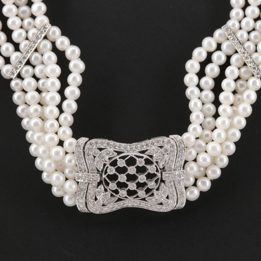 18K White Gold 1.30 CTW Diamond and Pearl Necklace