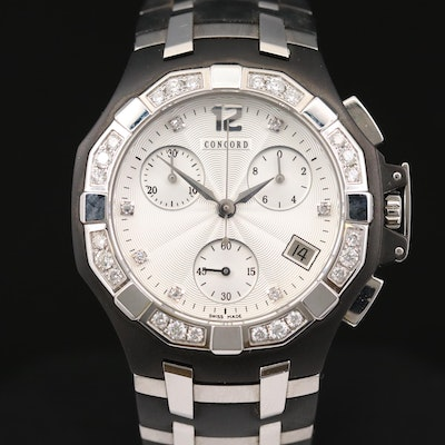 Concord Saratoga Diamond Dial and Bezel Chronograph Wristwatch with Date