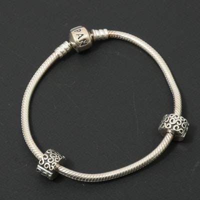 Pandora Sterling Silver Bracelet with Spacer Charms