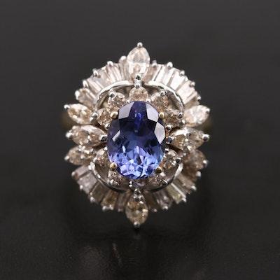 14K White Gold Tanzanite and 2.53 CTW Diamond Ring