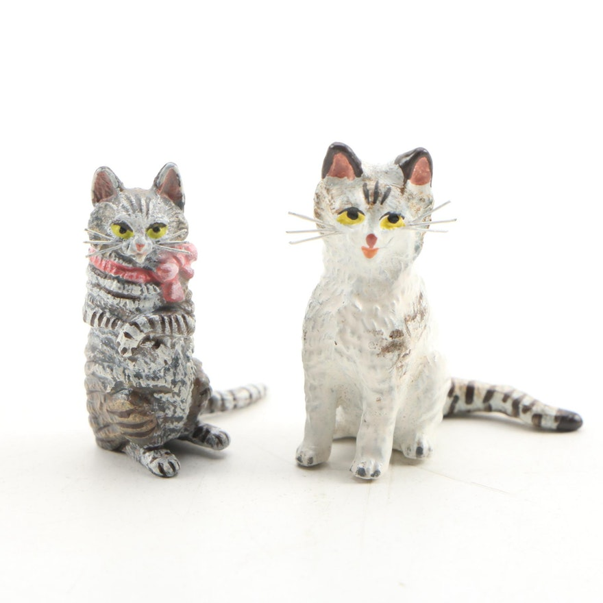 Austrian Cold Painted Bronze Cat Figurines