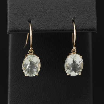 10K Yellow Gold Prasiolite Drop Earrings