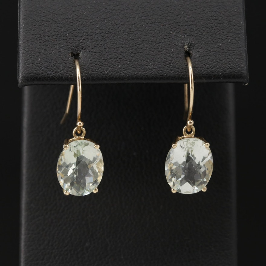 10K Yellow Gold Prasiolite Drop Earrings