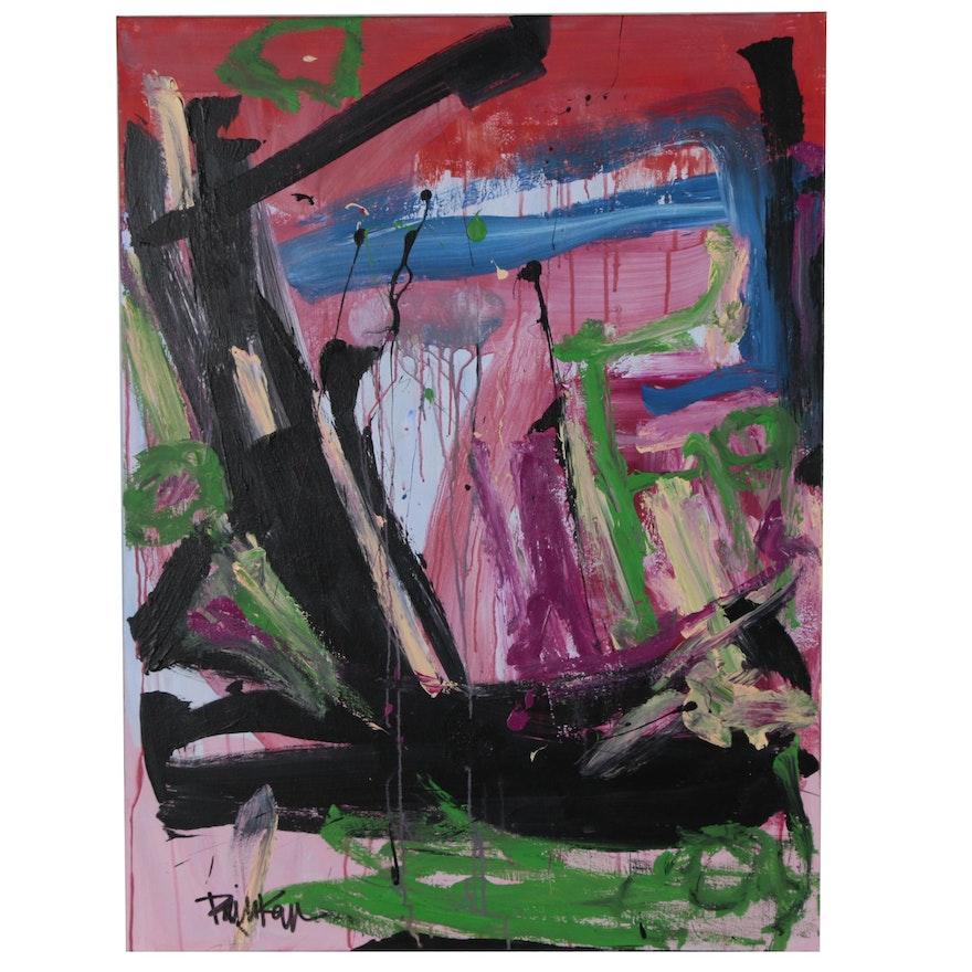 "Robbie Kemper Acrylic Painting ""Three Green Circles"""