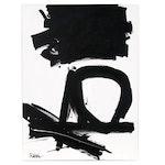 "Robbie Kemper Acrylic Painting ""Black on White Circle Shape"""