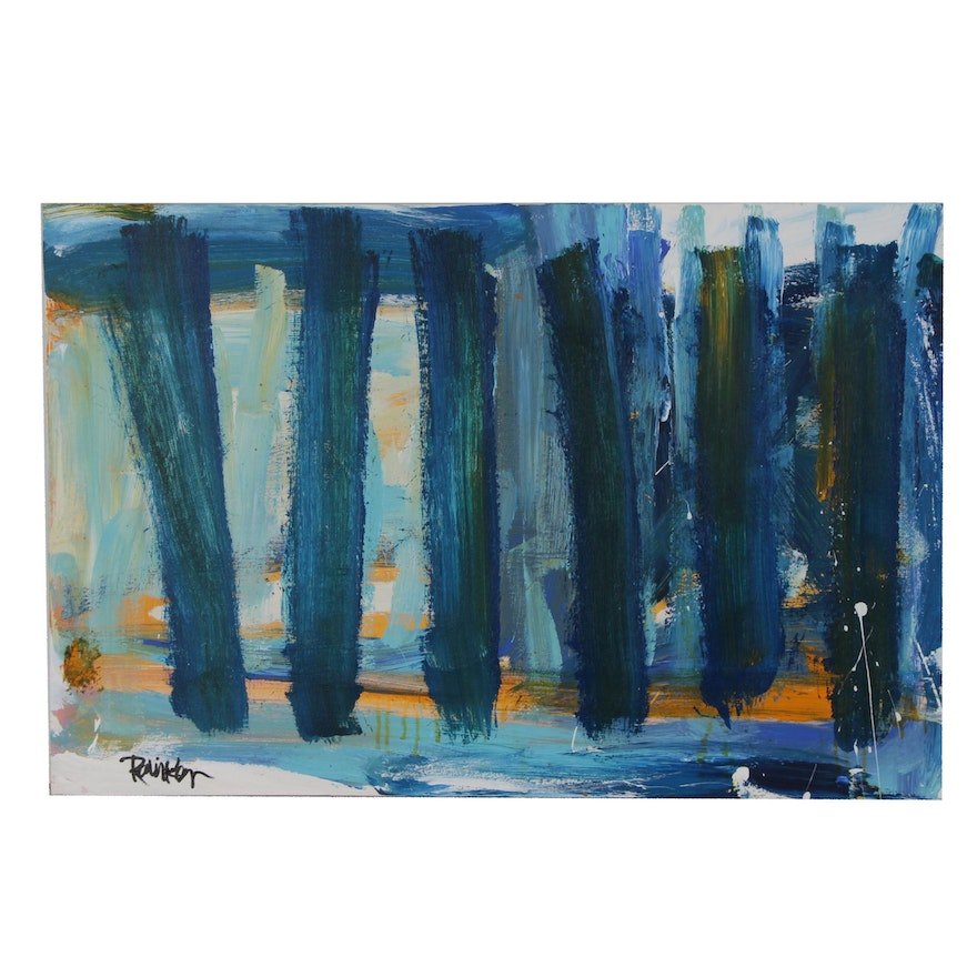 "Robbie Kemper Acrylic Painting ""Vertical Blues"""