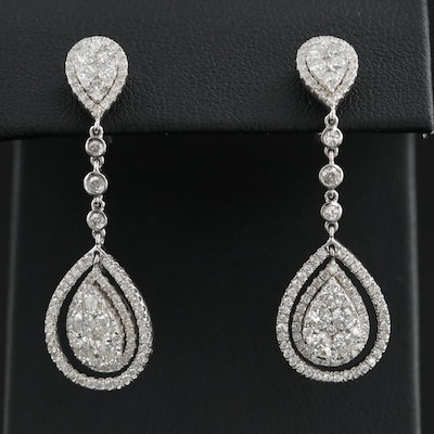 14K White Gold 3.00 CTW Diamond Dangle Earrings