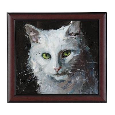 """Adam Deda Oil Painting """"White Cat"""""""