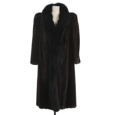Mahogany Mink Fur Coat with Fox Fur Trim by Nan Duskin