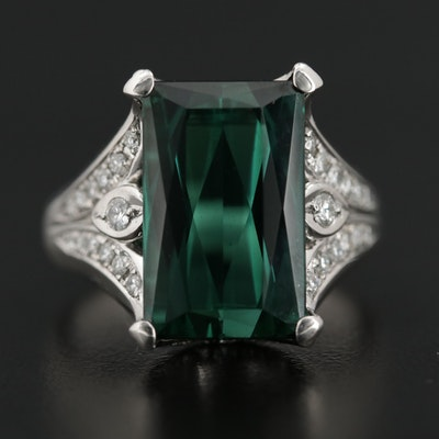 Platinum 12.99 CT Tourmaline and Diamond Ring