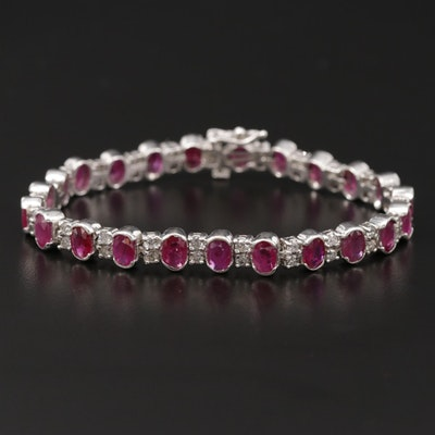 14K White Gold Ruby and 1.95 CTW Diamond Line Bracelet