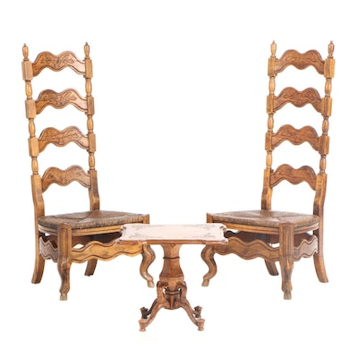 Provincial Style Oak Ladder-Back Chairs and Table Set, circa 1970