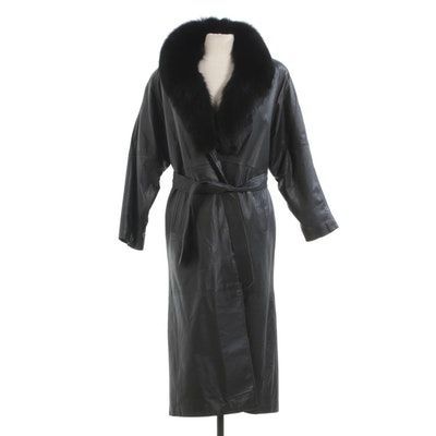 Black Leather Coat with Sash Belt and Fox Fur Collar by Maison Blanche