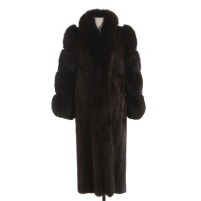 Mahogany Mink Fur Coat with Fox Fur Trim from The Evans Collection