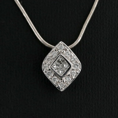 14K White Gold Diamond Pendant On Snake Chain Necklace
