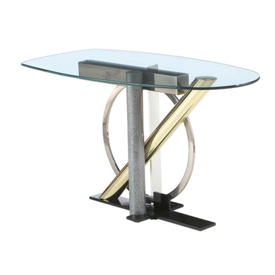 Kaizo Oto for Design Institute of America Mixed Metal & Glass Top Console Table