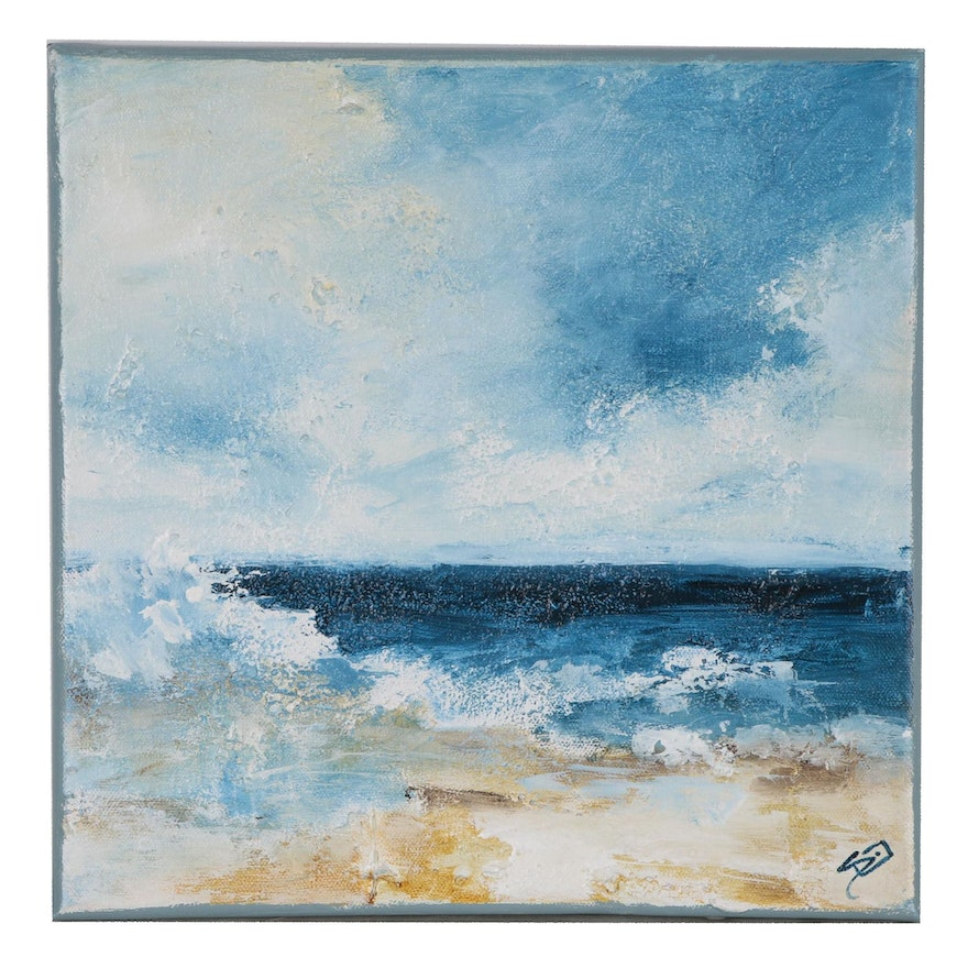 """Sue Dion Acrylic Painting """"Beach Waves"""", 2019"""