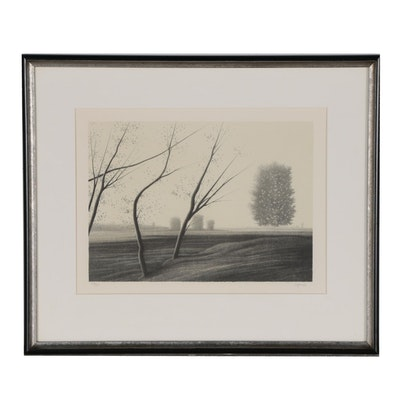 Robert Kipniss Lithograph of Rural Landscape