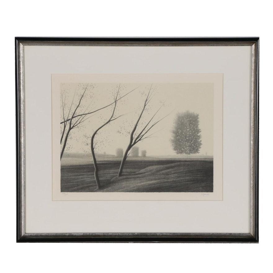 Robert Kipniss Lithograph of Rural Landscape
