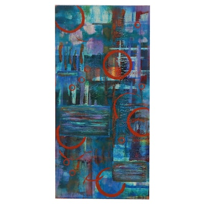 "Moon Stumpp Abstract Acrylic Painting ""Tile Series"""