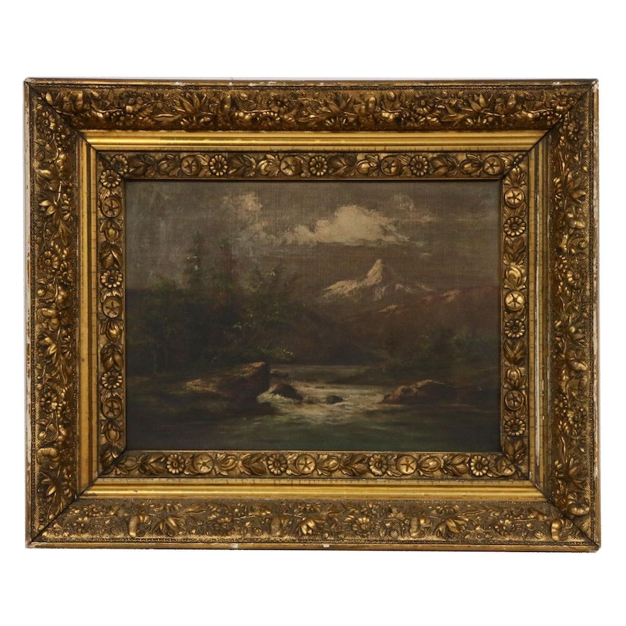 Mountain Landscape Oil Painting, Late 19th/Early 20th Century