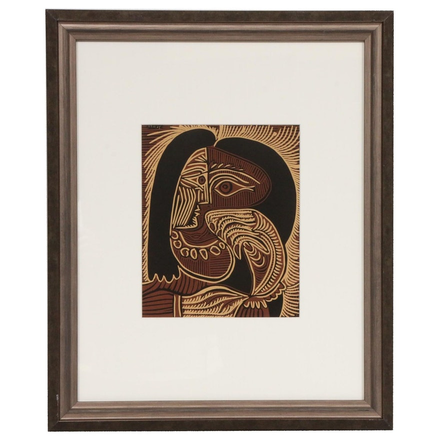 "Linoleum Cut Designed by Pablo Picasso ""Female Head with Necklace,"" 1962"